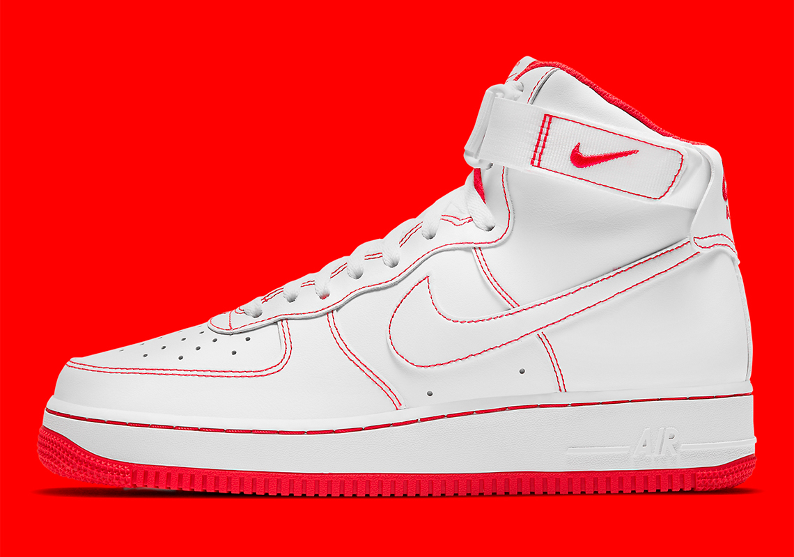 Nike Air Force 1 High Blanche Rouge CV1753-100 - Crumpe
