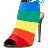 Aquazzura Rainbow Striped Suede Sandal