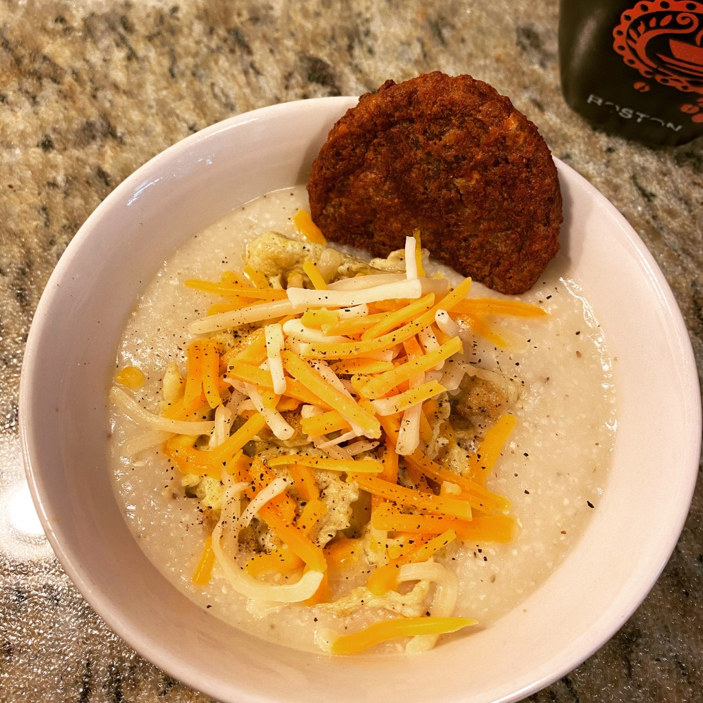 Creamy Grits Stack, cheese and veggie sausage