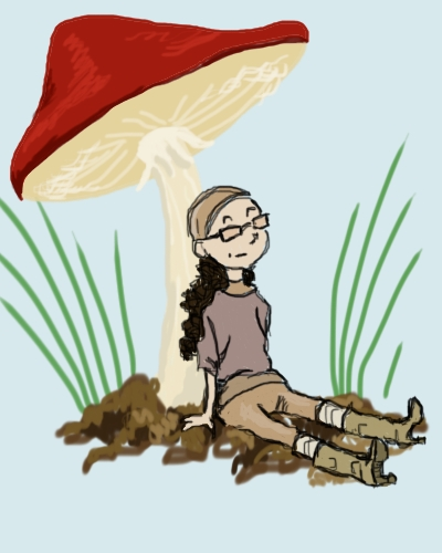 """""""Bound 2,"""" an illustration by Amanda Wood showing Dollissa, a small tiny person, resting in the shade of a small mushroom. Her yeezy fashions on display."""