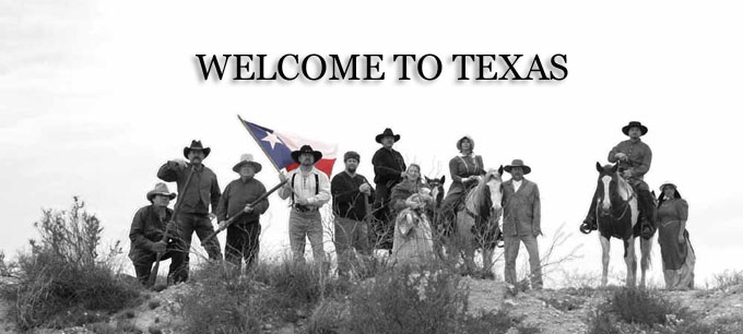"This is an image that says ""welcome to texas."" It is black and white except for the texas flag, which is in color. There's an array of cowboys and pioneer women standing, looking proud. Like Texans like to think they all look."