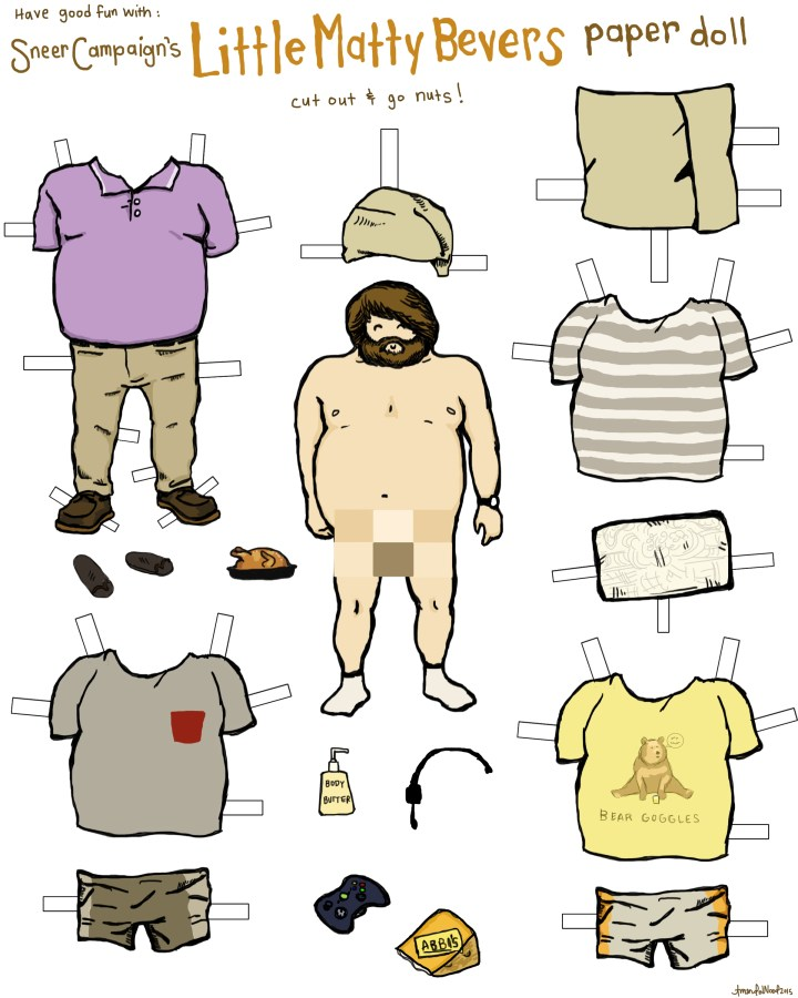 Broad City Matty Bevers Paper Doll by Sneer Campaign