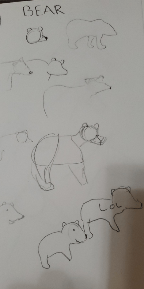 "A fairly large image interrupts the article here. It is a photo of a sketch page, filled with ten attempts at bear-like forms. Written at the top of the page is, in all-caps, ""bear."""