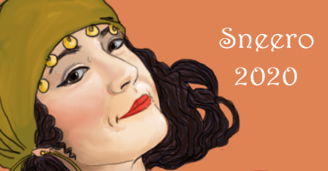 "A coy woman's face. She is smiling with side eye. She is wearing an olive green head scarf that has golden bangles hanging across the forehead. Her hair is dark and unruly. The background is slightly oranger than salmon pink. There is white text that says ""Sneero 2020"""