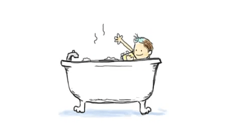 A simple little drawing of Amandoll happily scrubbing her arm while in a bubble bath in a deep clawfoot tub.