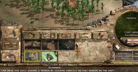 Game scene. In the background you can see a modest papaya farm. But the image is meant to show the Forbidden Section, where you can proclaim a person to be a heretic, or to go so far as to eliminate them.