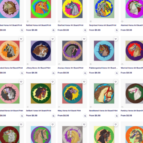 Screencapture image of twenty listings of designs showing frightened horses, basically. Thats what carousel horse heads are. Studies of horse fear.