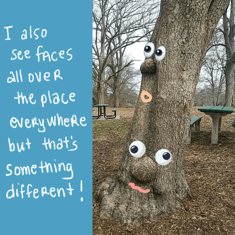 "First of all, the text along the left of this image says ""I also see faces all over the place everywhere but that's something different!""  On the right is a photo I recently took in a park of a tree that has weird bulges on its trunk. But I added eyes and mouths to it so that the bulges are like noses."