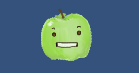 This is a simple drawing of a green apple with a slightly uncomfortable, grimacing expression on its apple face.