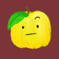 The yellow apple student with a leaf falling over her right eye, left brow raised. A haughty demeanor.