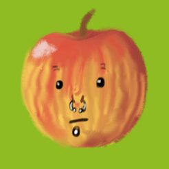 A stripedy pinkish yellowish red apple with facial piercings and a little blank stare.