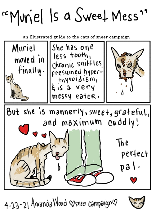 """A kitty comic titled """"Muriel Is A Sweet Mess.""""  Panel 1 shows Muriel sitting small, to the side corner. """"Muriel moved in finally.""""  Panel 2 is all words: """"She has one less tooth, chronic sniffles, presumed hyperthyroidism, and is a very messy eater.""""  Panel 3 is just a drawing of her looking ornery, covered in food and drooling. One pupil is larger than the other.  Panel 4 has her sitting pressing her head lovingly against a person's shin. Her tongue is sticking out and she has heart bubbles around her. The words: """"But she is mannerly, sweet, grateful, and maximum cuddly! The perfect pal."""""""