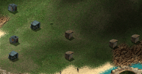 Screencapture of gameplay. This is a little cluster of shacks on a slightly less vertical part of the island, by the beach.