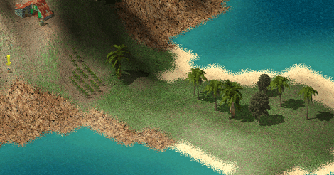 Screencap of Tropico showing a little flat outcropping of land.