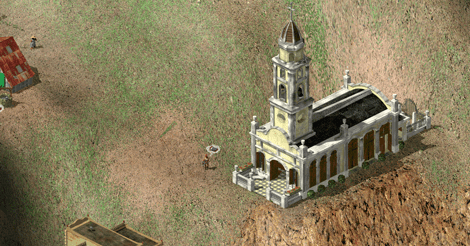 A screencap of the church, clinging to the edge of a cliff.