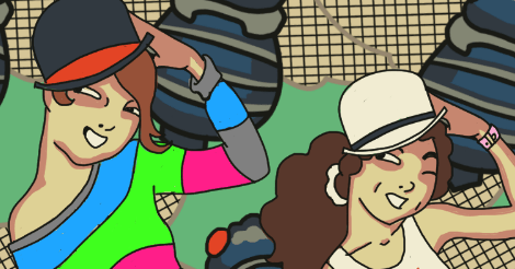 A sample of the upcoming overindulgent self-portrait. Amandoll and Dollissa, in a zany 1920s style and wearing little bowler caps, doff them while looking to the side. All full of vim.