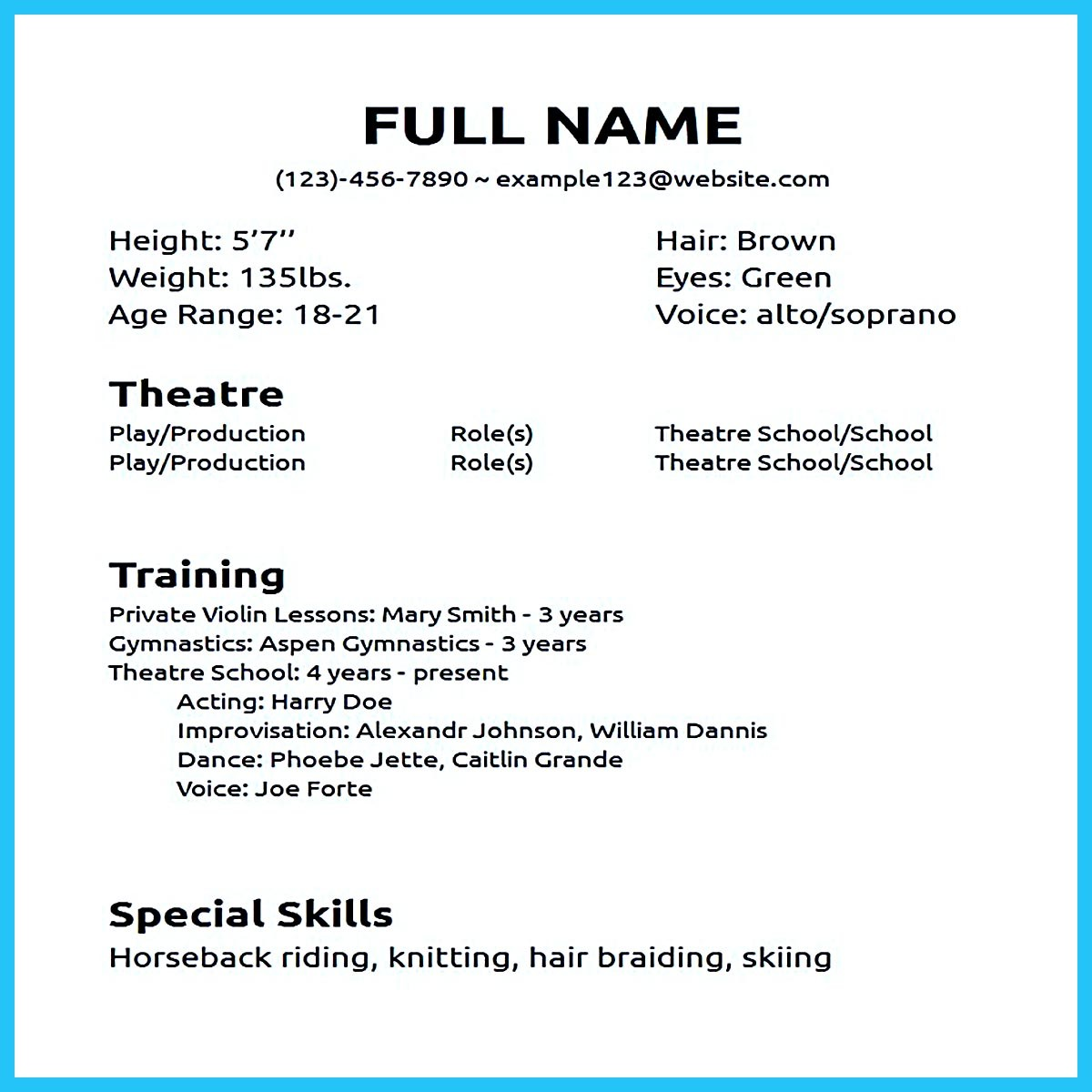 Impressive Actor Resume Sample To Make. How