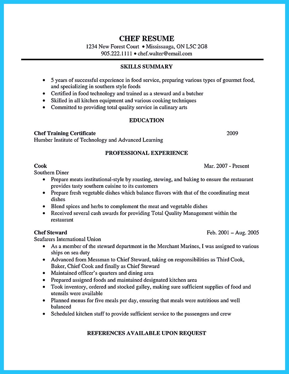 Excellent Culinary Resume Samples To Help You Approved