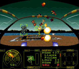 Enemy mechs blow up nicely.