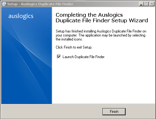 Leave the Launch Duplictate File Finder check box checked