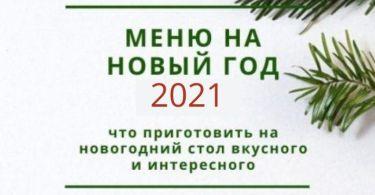 Меню на Новый год 2021
