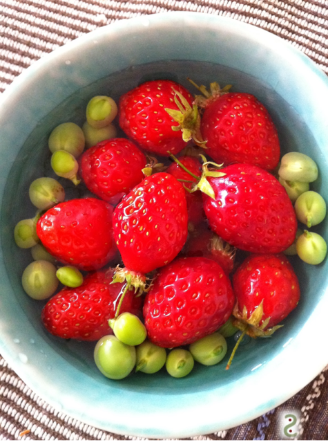 strawberries and peas