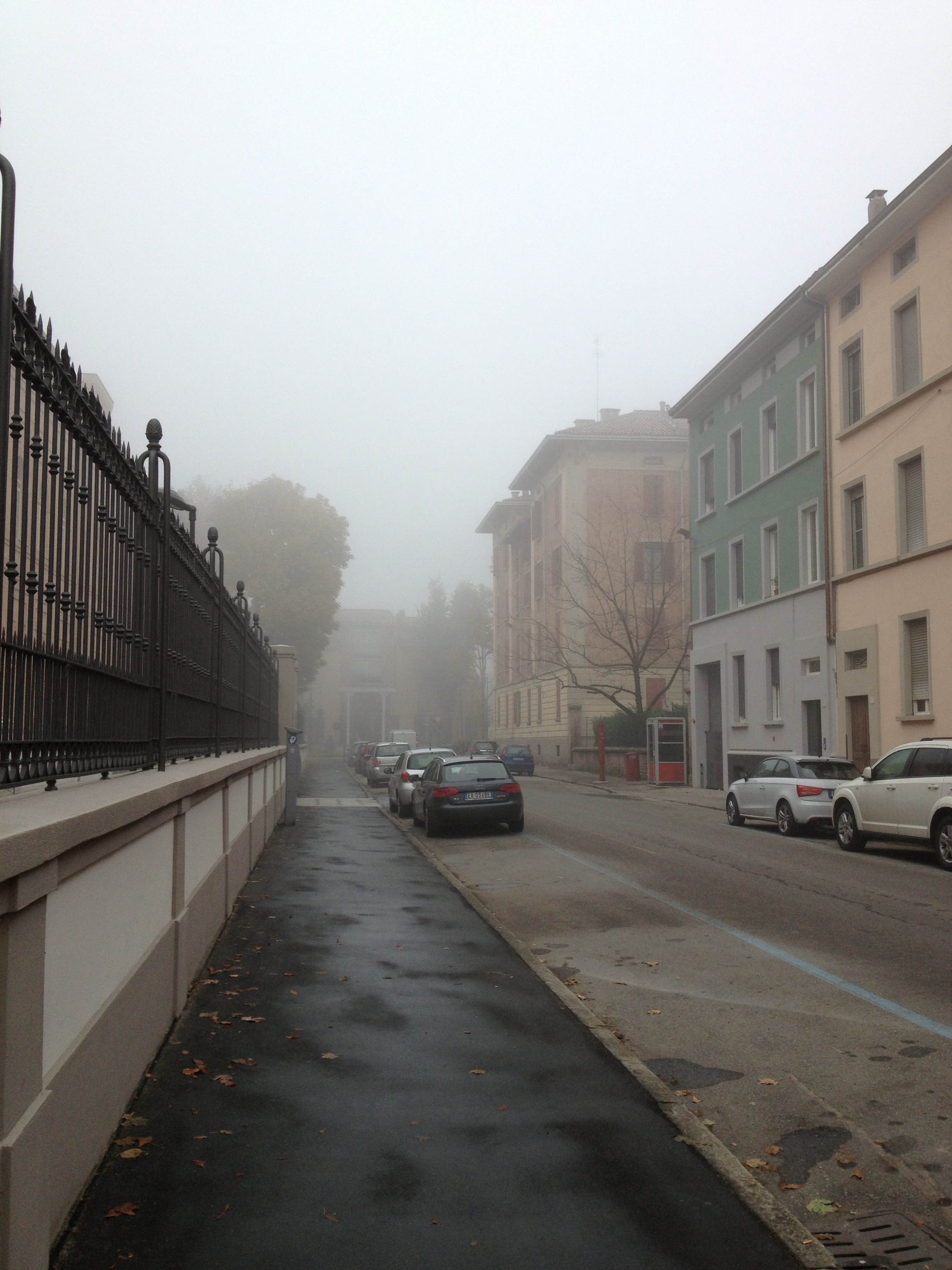 On the way to work. It was very foggy most of the time I was there.