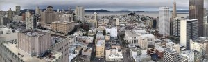 Panorama of Downtown San Francisco from the top of Grand Hyatt Hotel