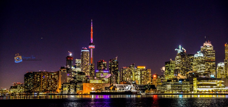 The Skyline of DownTown Toronto from Polson Pier