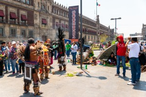 Tribal Indian Healers Perfom Ritual Downtown Mexico City