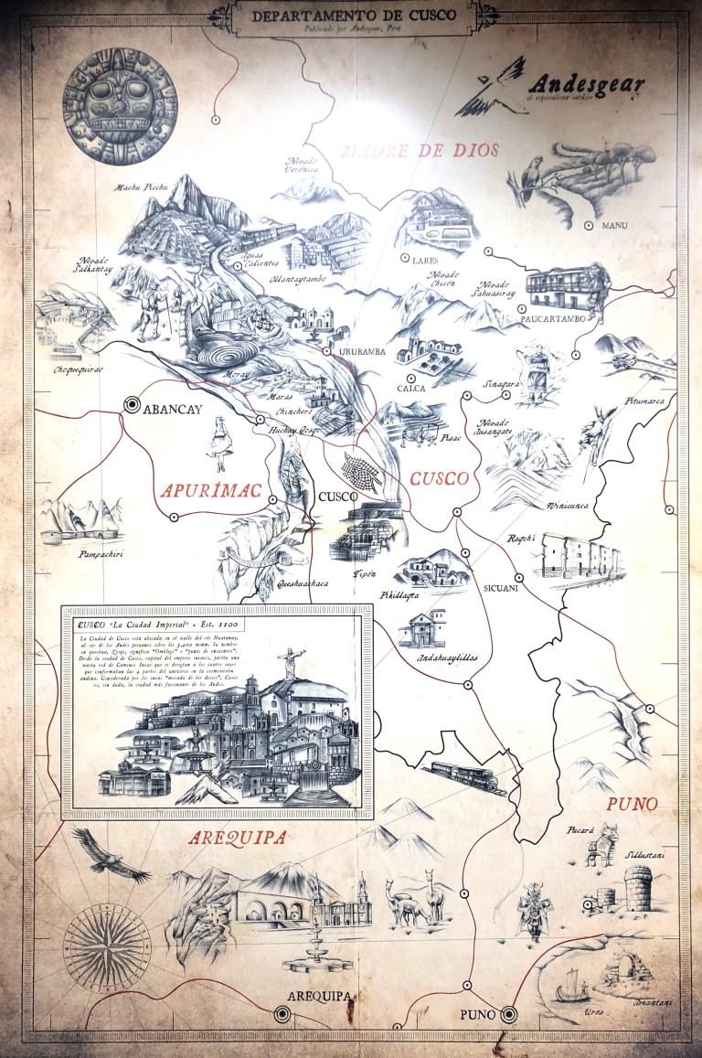 Map Cusco Sacred Valley Peru