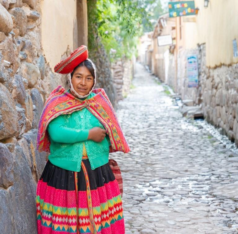 People in Ollantaytambo Sacred Valley Peru