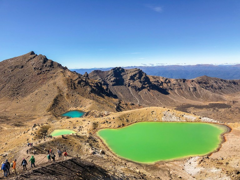 Emerald (foreground) and Blue (background) Lakes in Tongariro Alpine Crossing, North Island, New Zealand