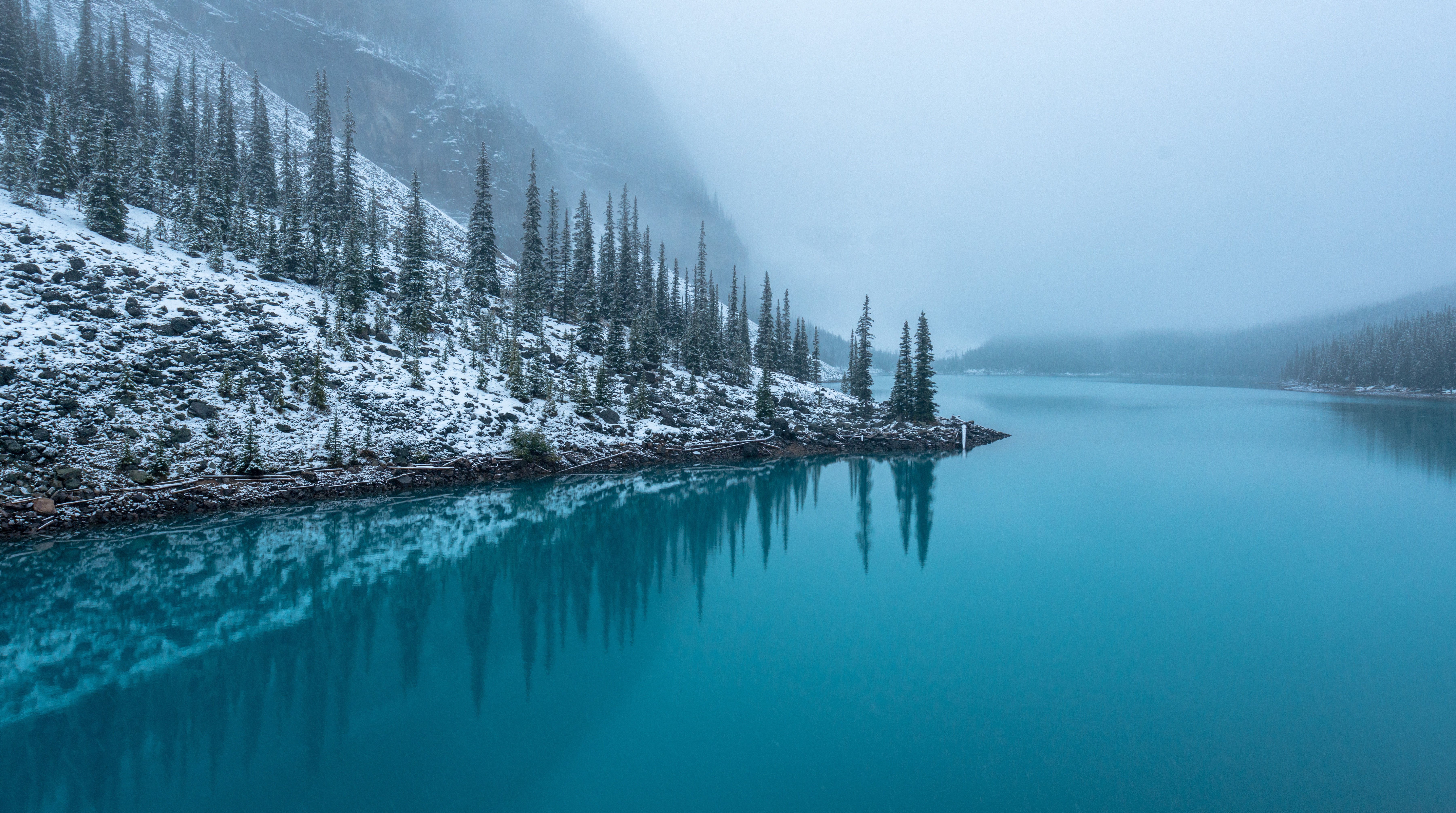North America; Canada; The Canadian Rockies; Banff National Park; Moraine Lake; Landscape; Lakes; Mountains; Nature; Winter; Snow; Turquoise; Nikon D800