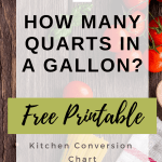 FREE Printable Kitchen Conversion Chart & Baking Tips - how many cups in a quart, pint or gallon and what is the difference between dry and liquid measuring cups and more! #kitchen #baking #bakingtips #conversions