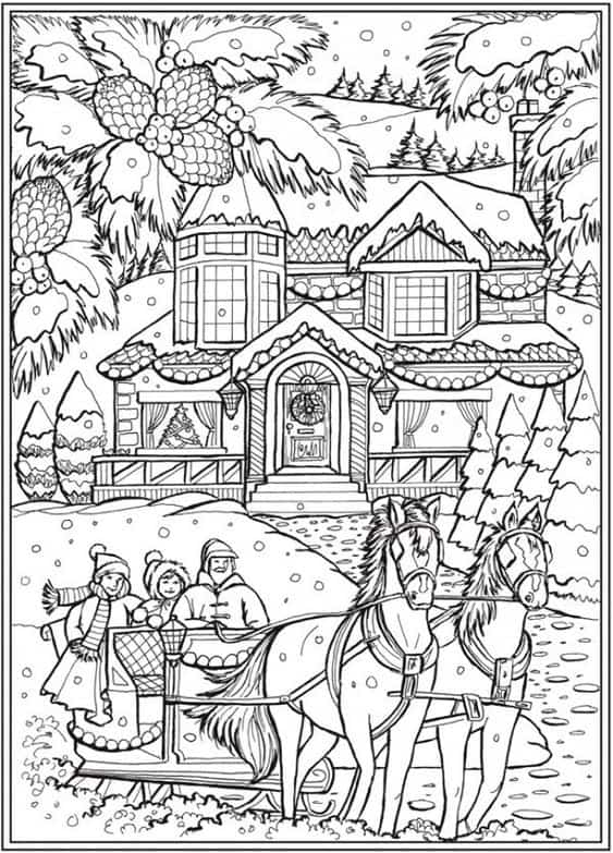 Christmas Sleigh Ride Coloring Page