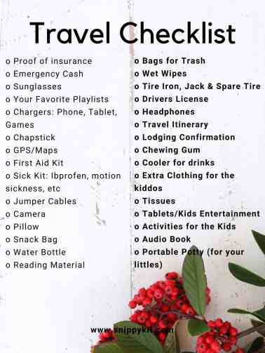 family travel checklist printable