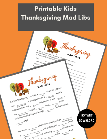 This silly Thanksgiving Mad Libs Printable is perfect for keeping the kids entertained and occupied while the turkey finishes cooking! We LOVE Mad Libs!