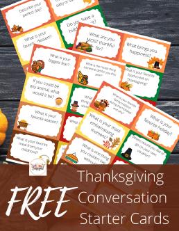 Thanksgiving Conversation Dinner Cards for kids