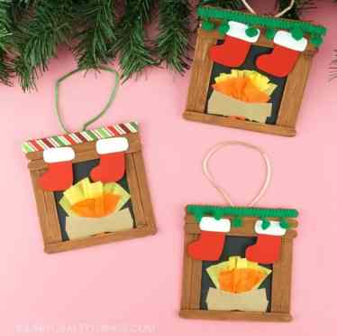 christmas fireplace ornament craft for kids
