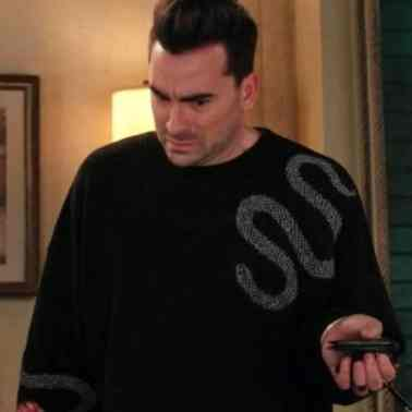 david rose silver glitter snake sweater