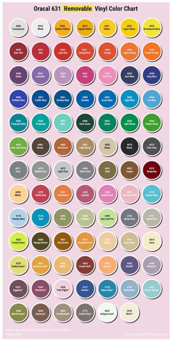 oracal 631 removable vinyl color chart
