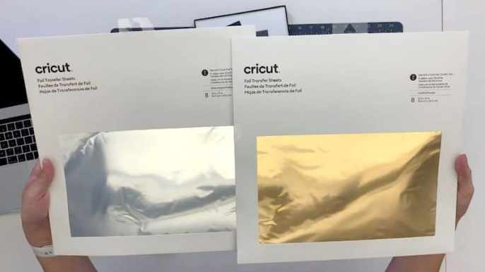 cricut foil transfer sheet packs in silver and gold