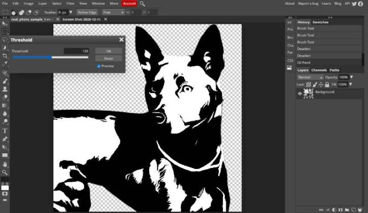 adjusting the threshold settings of the image in Photopea