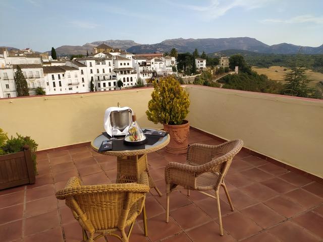 Corner room terrace at Parador de Ronda. Photo © Karethe Linaae