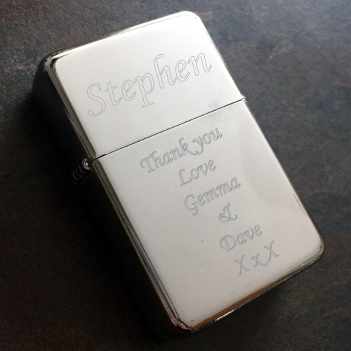 engraved lighter with personalised message