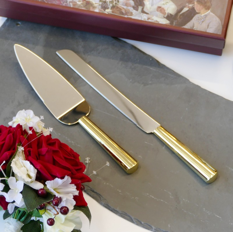 Personalised Gold Cake Knife Server