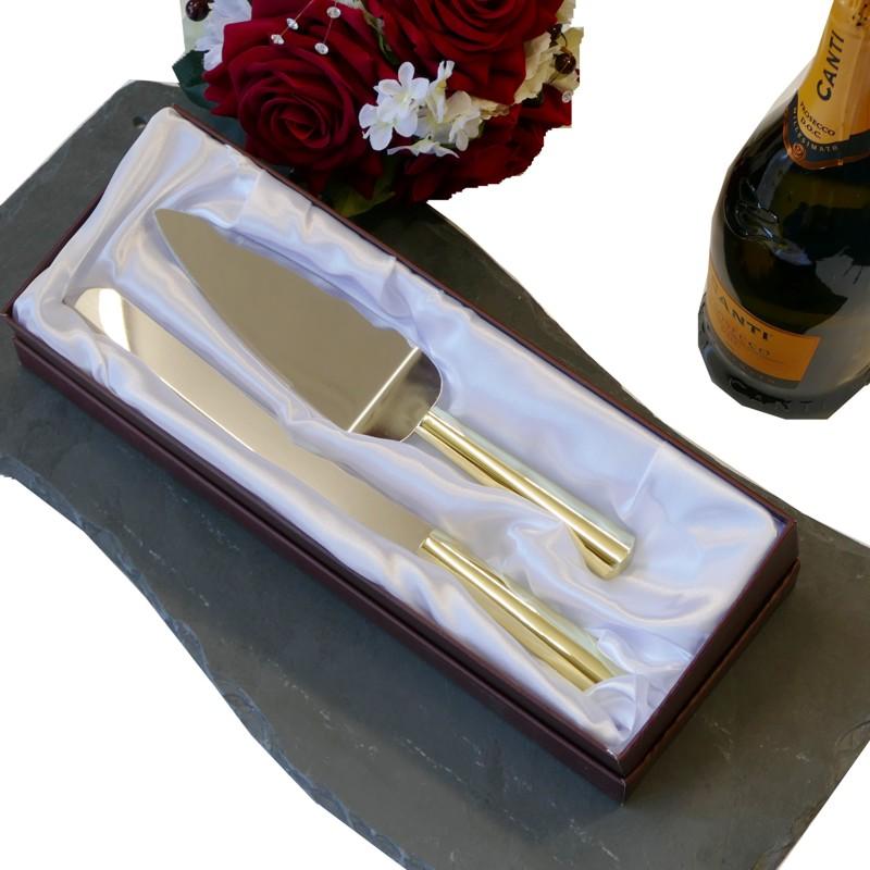 Personalised Gold Cake Knife Server Gold Cake Knife Set Snobsgifts
