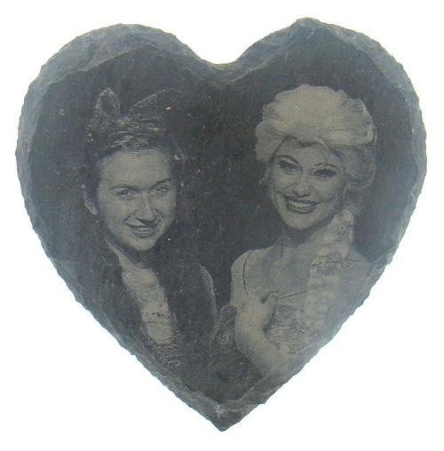 Photo engraved slate coasters - heart shaped
