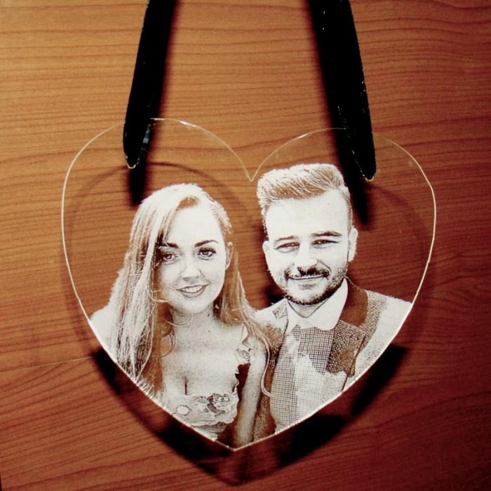 Photo engraved acrylic heart